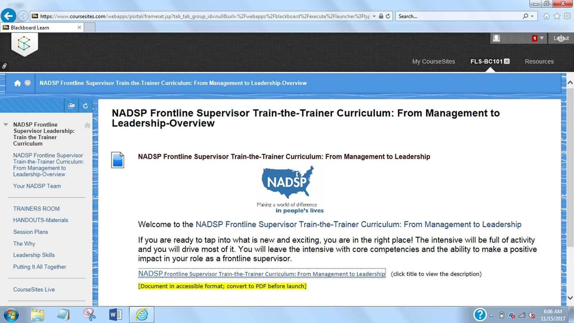 NADSP FLS Curriculum Course