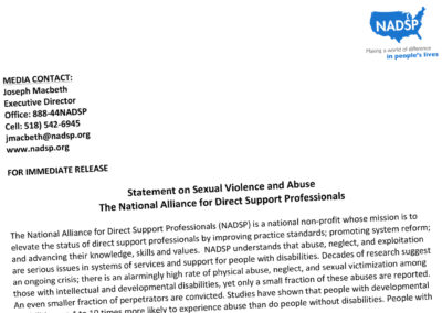 Statement on Sexual Violence and Abuse